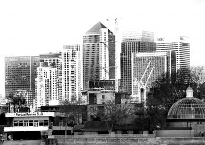 Canary Wharf from Greenwich mono